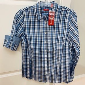 NEW Izod Golf Women S Plaid Button Roll Tab Shirt